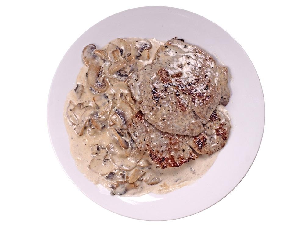 медальоны из свинины с грибами в сливочном соусе